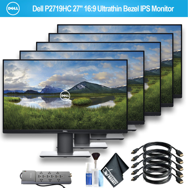 "Dell P2719HC USB-C 27"" 16:9 Ultrathin Bezel IPS Monitor With 1 - Belkin PowerStrip and 5 HDMI Cables - 5 Pack"