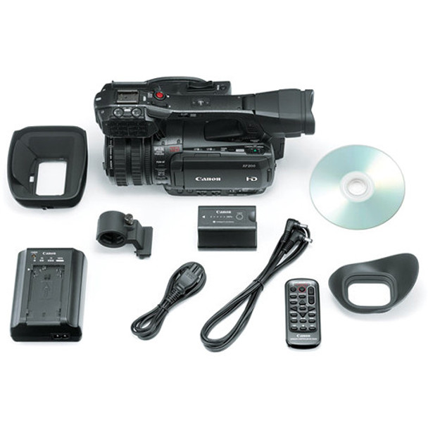Canon XF200 HD Camcorder  (9593B002) W/ 64GB Memory Card, Bag, Extra Battery and Charger, Tripod, Led Light and More