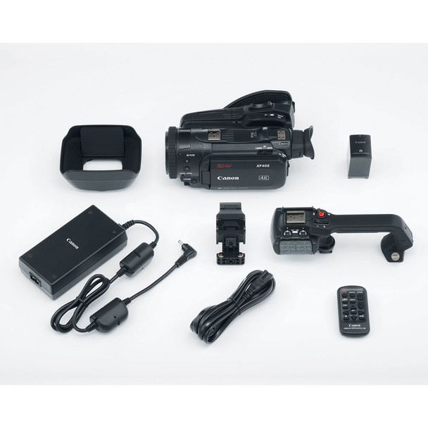 Canon XF405 4K UHD 60P Camcorder with Dual Pixel Autofocus (2212C002) W/ 64GB Memory Card, Bag, Extra Battery and Charger, Tripod, Led Light, Sony Headphones, Mic, and External Monitor