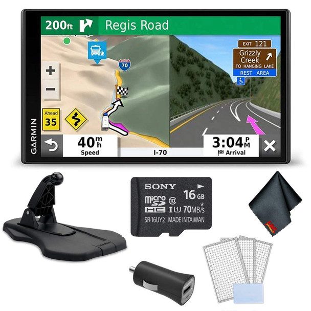 Garmin RV 780 GPS Navigator with Traffic Bundle with Garmin Portable Friction Dashboard Mount + LCD Screen Protectors + Sony 16 GB Memory Card and More