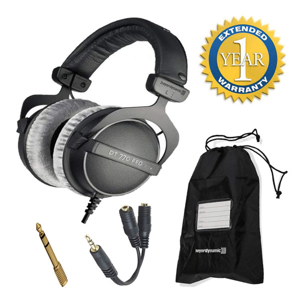 Beyerdynamic DT 770 Pro 80 Ohm Closed-Back Studio Mixing Headphones -Includes- Soft Case, Splitter, and 1-Year Extended Warranty