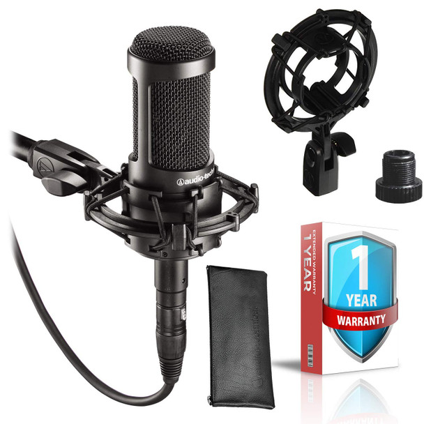 AT2035 Cardioid Condenser Microphone + Shockmount + Protective Pouch with Extended Warranty