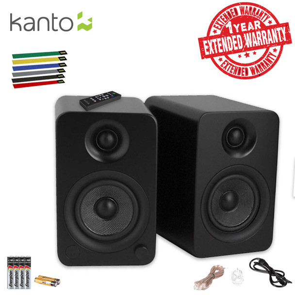 Kanto Living YU4 2-Way Powered Bookshelf Speakers (Matte Black) Includes Extra Batteries, Cable Ties AND Extended Warranty