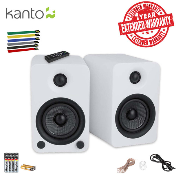 Kanto Living YU4 2-Way Powered Bookshelf Speakers (Matte White) Includes Extra Batteries, Cable Ties AND Extended Warranty