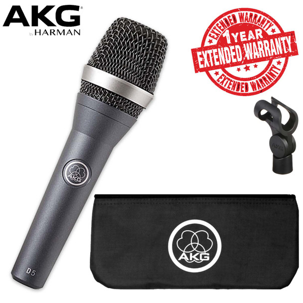 AKG D5 Vocal Microphone Includes Carrying Bag, Stand Adapter AND 1-Year Extended Warranty