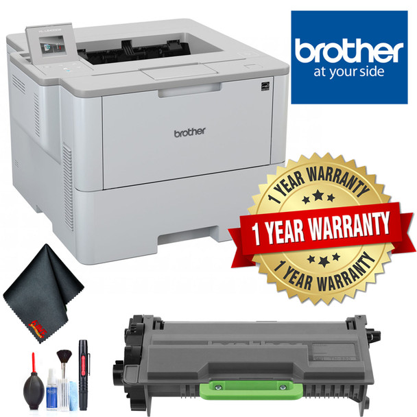 Brother Laser Printer for Mid-Sized Workgroups with Higher Print Volumes with 1 Year Extended Warranty, Toner Cartridge, Cleaning Kit