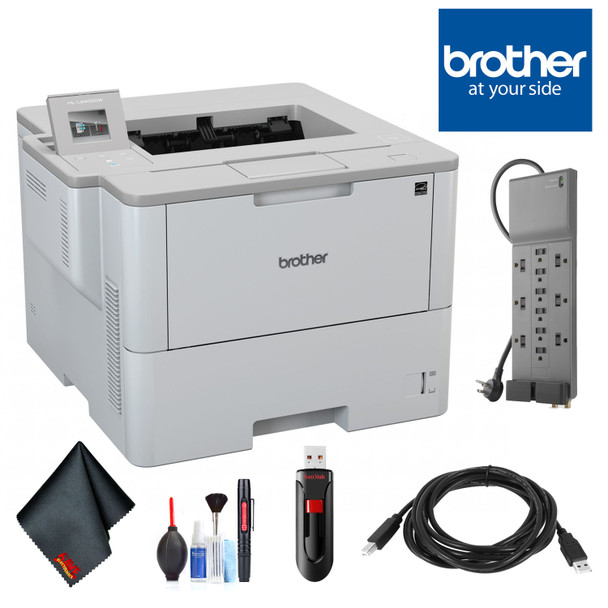 Brother Laser Printer for Mid-Sized Workgroups with Higher Print Volumes with Belking Surge Protector, SANDISK Cruzer 16 GB USB Stick, High Speed 10 ft USB Printer Cable