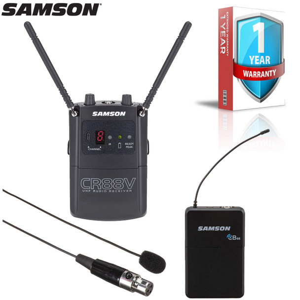 Samson Concert 88 Camera UHF Wireless Lavalier Mic System (Channel D) with Extended Warranty Bundle