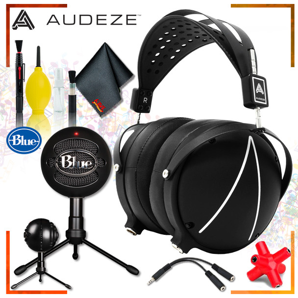 Audeze - LCD2 Closed-Back Headphones + Blue Snowball iCE Microphone (Black) + Headphone and Knuckel Signal Splitter + Cleaning Kit Streaming Bundle
