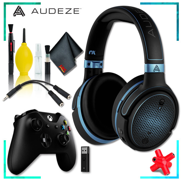 Audeze Mobius Planar Magnetic Gaming Headset (Blue) + Microsoft Xbox Wireless Controller w/ Wireless Adapter + Headphone and Knuckel Signal Splitter + Cleaning Kit
