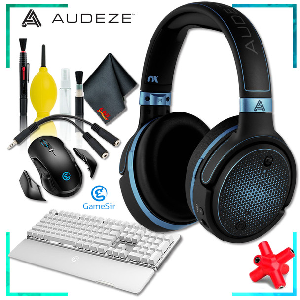Audeze Mobius Planar Magnetic Gaming Headset (Blue) + GK300 Wireless Mechanical Gaming Keyboard (White) + GM300 Wireless Gaming Mouse + Headphone and Knuckel Signal Splitter + Cleaning Kit