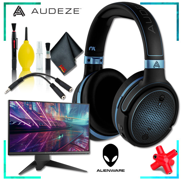 Audeze Mobius Planar Magnetic Gaming Headset (Blue) + Dell AW2518HF 24.5 inch 16:9 Gaming Monitor + Headphone and Knuckel Signal Splitter + Cleaning Kit