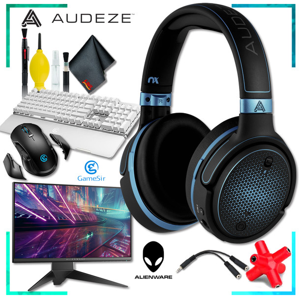 Audeze Mobius Planar Gaming Headset (Blue) + Dell AW2518HF 24.5 inch 16:9 Gaming Monitor + GK300 Gaming Keyboard (White) + GM300 Gaming Mouse + Headphone and Knuckel Signal Splitter + Cleaning Kit