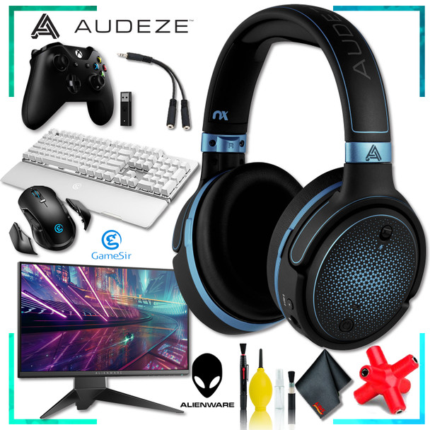 Audeze Mobius Planar Gaming Headset (Blue) + Dell AW2518HF 24.5 inch 16:9 Gaming Monitor + Xbox Controller + GK300 Gaming Keyboard w/ Mouse + Headphone and Knuckel Signal Splitter + Cleaning Kit
