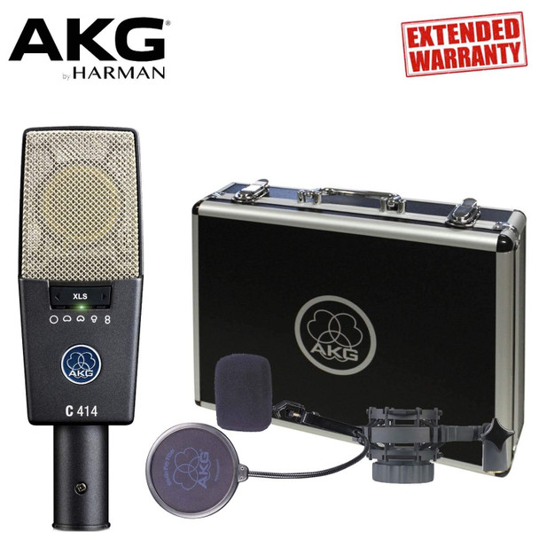 AKG C414 XLS Large-diaphragm Condenser Microphone - Includes - Carrying Case AND 1-Year Extended Warranty