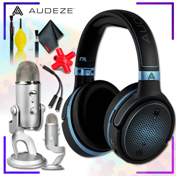 Audeze Mobius Planar Magnetic Gaming Headset (Blue) + Blue Yeti USB Microphone (Silver) + Headphone and Knuckel Signal Splitter + Cleaning Kit