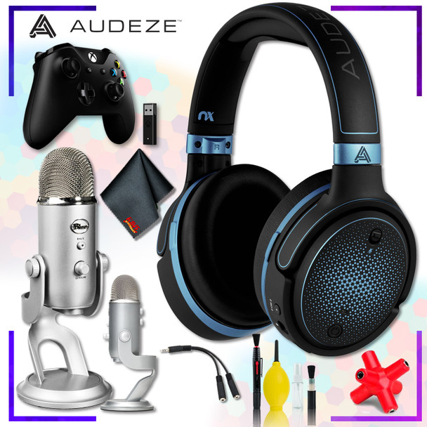 Audeze Mobius Planar Magnetic Gaming Headset (Blue) + Blue Yeti USB Microphone (Silver) + Xbox Wireless Controller with adapter + Headphone and Knuckel Signal Splitter + Cleaning Kit Streaming Bundle