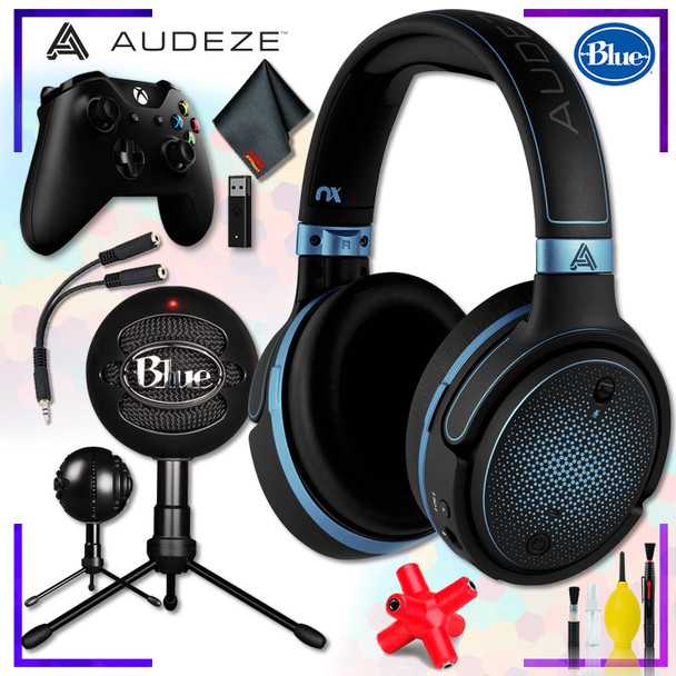 Audeze Mobius Planar Magnetic Gaming Headset (Blue) + Blue Snowball Microphone (Black) + Xbox Wireless Controller with adapter + Headphone and Knuckel Signal Splitter + Cleaning Kit Streaming Bundle