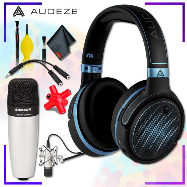 Audeze Mobius Planar Magnetic Gaming Headset (Blue) + Samson C01 Condenser Microphone + Headphone and Knuckel Signal Splitter + Cleaning Kit