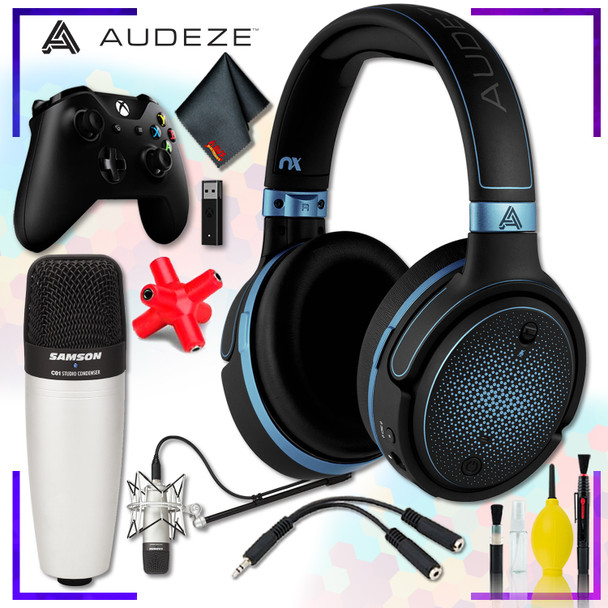 Audeze Mobius Planar Magnetic Gaming Headset (Blue) + Samson C01 Condenser Microphone + Xbox Wireless Controller with adapter + Headphone and Knuckel Signal Splitter + Cleaning Kit Streaming Bundle