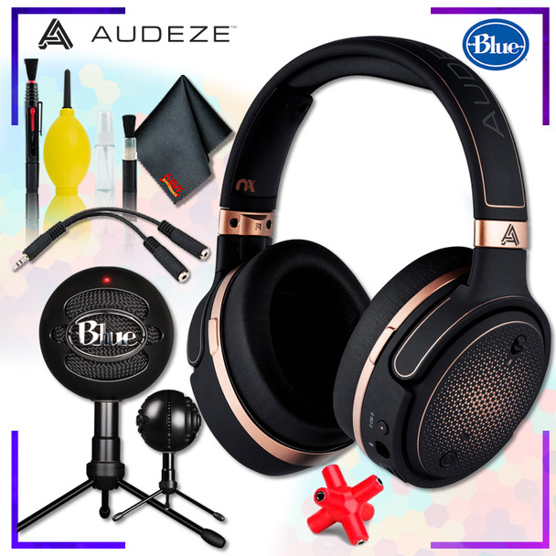 Audeze Mobius Planar Magnetic Gaming Headset (Copper) + Blue Snowball iCE Microphone (Black) + Headphone and Knuckel Signal Splitter + Cleaning Kit Streaming Bundle