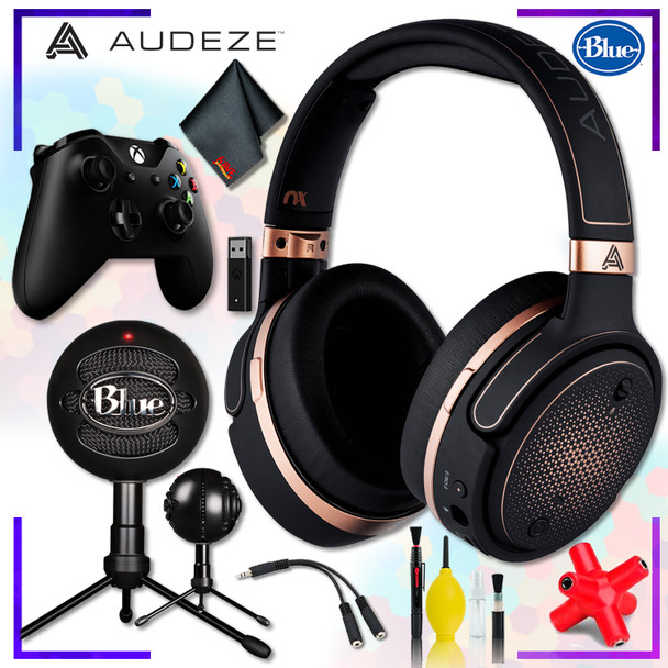 Audeze Mobius Planar Magnetic Gaming Headset (Copper) + Blue Snowball Microphone (Black) + Xbox Wireless Controller with adapter + Headphone and Knuckel Signal Splitter + Cleaning Kit Streaming Bundle