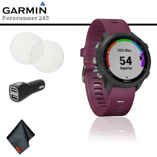 Garmin Forerunner 245 GPS Running Smartwatch (Berry) + Car Adapter + Tempered Screen Protector + Cleaning Cloth