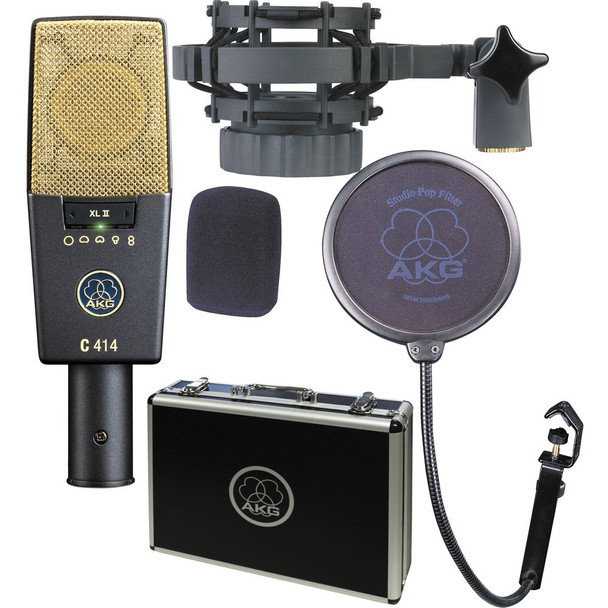 AKG C414 XLII Multi-Pattern Large-Diaphragm Condenser Microphone With 2 x XLR Cables, Shockmount, Pop Filter, Carrying Case AND 1-Year Extended Warranty