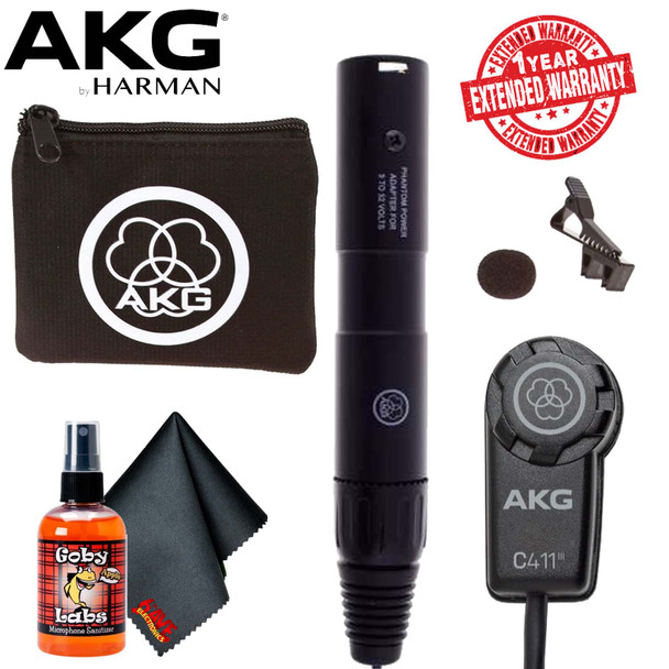 AKG C411 PP Miniature Condenser Pickup Microphone With Carrying Bag and 1-Year Extended Warranty