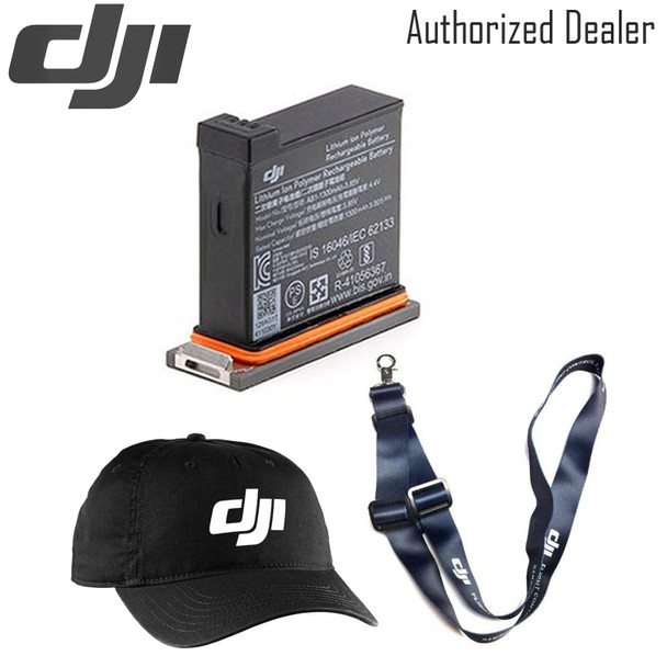 DJI Battery for Osmo Action Camera - DJI Baseball Cap (Black) - DJI Lanyard (dark blue)