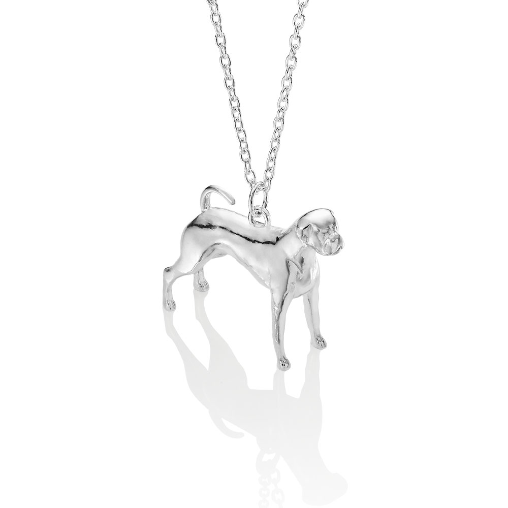 silver boxer dog necklace made by silver lucy