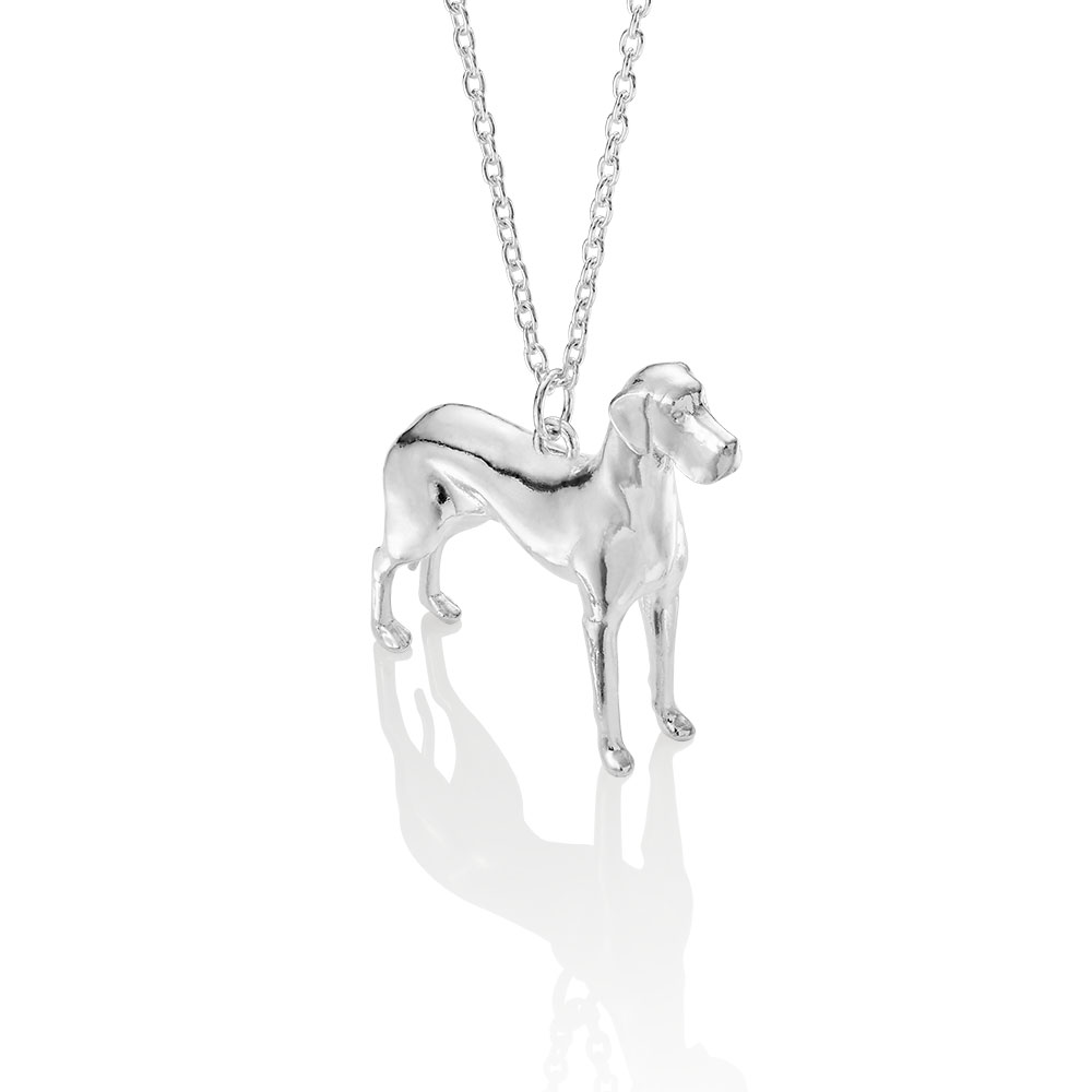 sterling silver great dane pendant made by silver lucy london