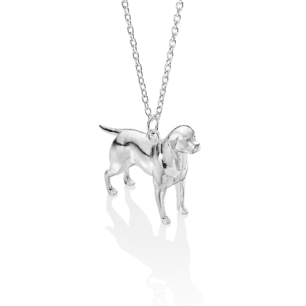 sterling silver labrador pendant made by silver lucy london