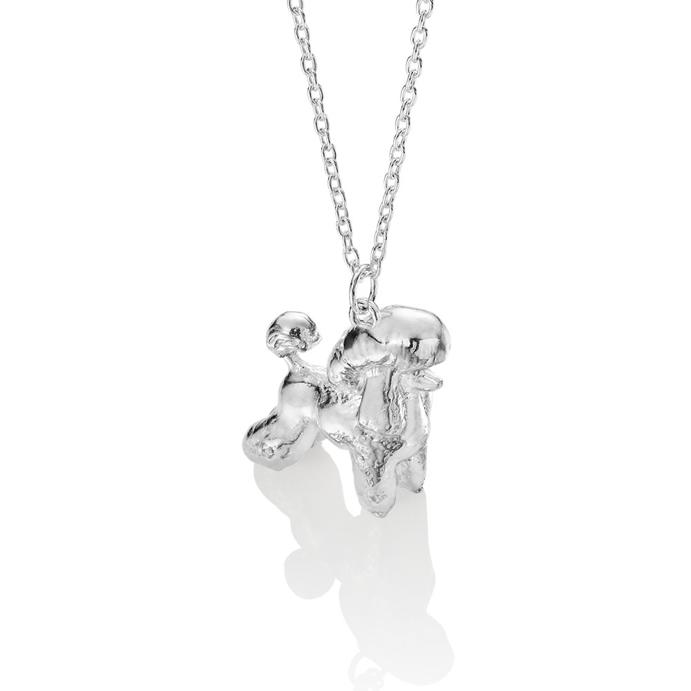 silver poodle necklace made by silver lucy