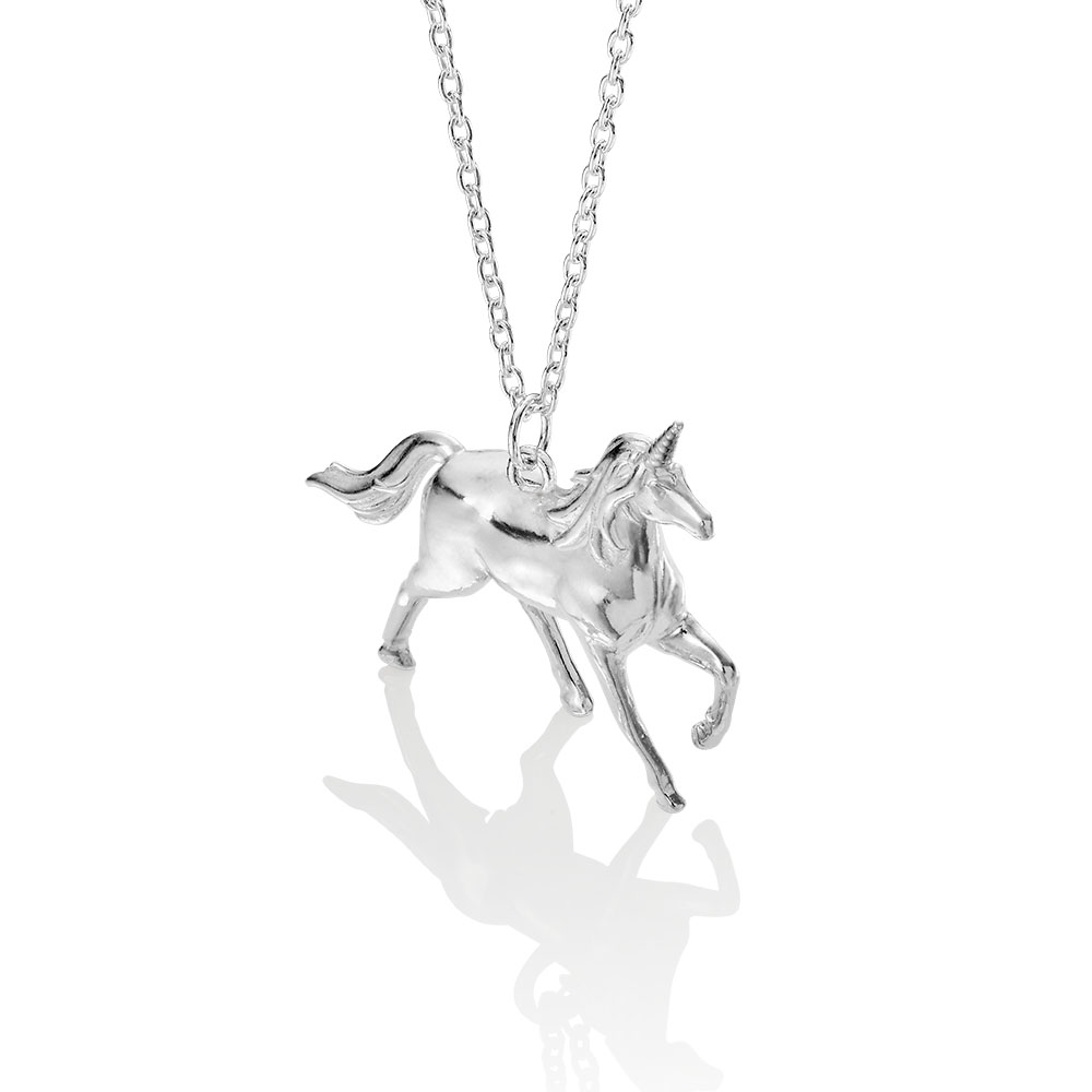sterling silver unicorn pendant made by silver lucy london