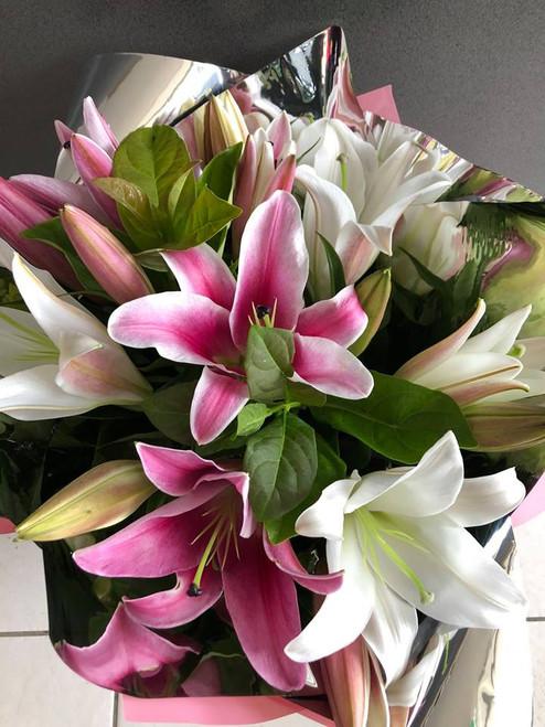 Oriental Lily Bouquet $50 - $100
