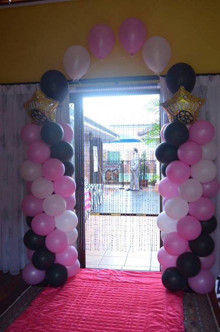 Pink, Black & White Floating Arch