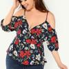 Plus Cold Shoulder Belted Wrap Floral Blouse