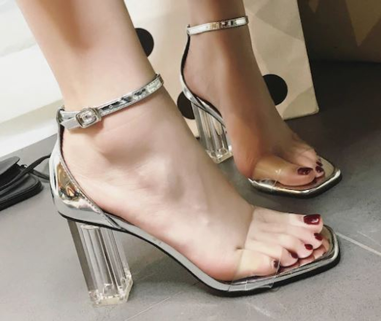Clear Chunky Heels - Coopers Hill Boutique