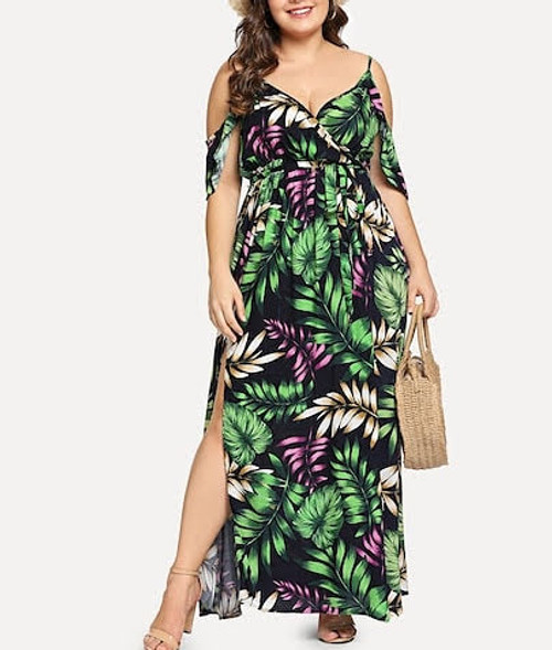 Plus Cold Shoulder slit Botanical Dress