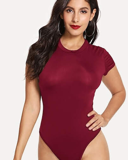 Burgundy Mock Neck Bodysuit