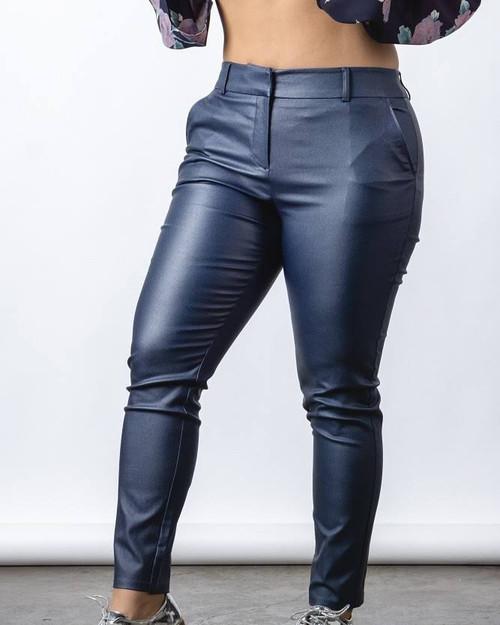 Plus Leather Look Slim Fit Pants