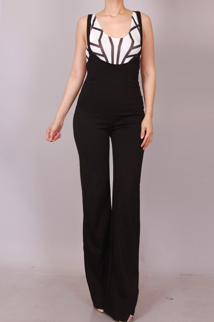 Solid Overall Wide Leg Pants
