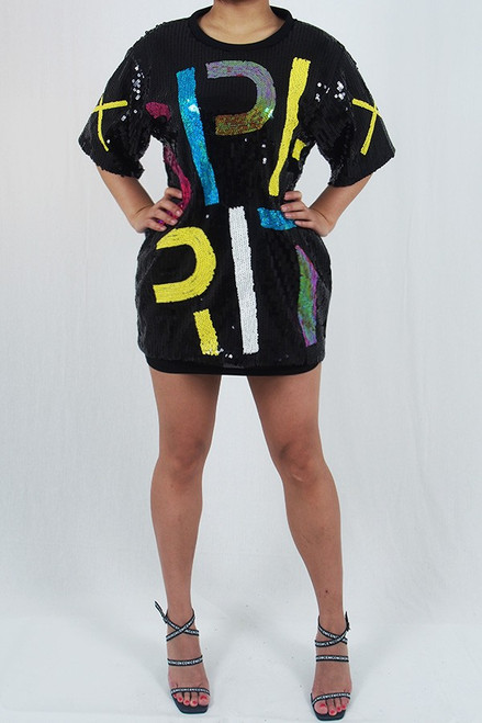 Sequin Letters Shirt Dress