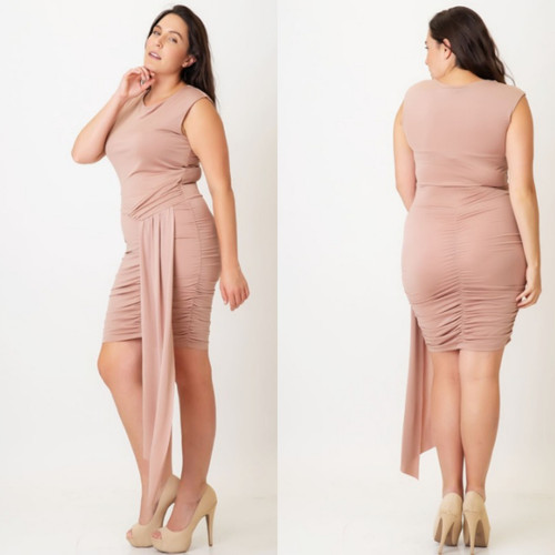 Plus Cowl Neck Draped side Ruched Dress
