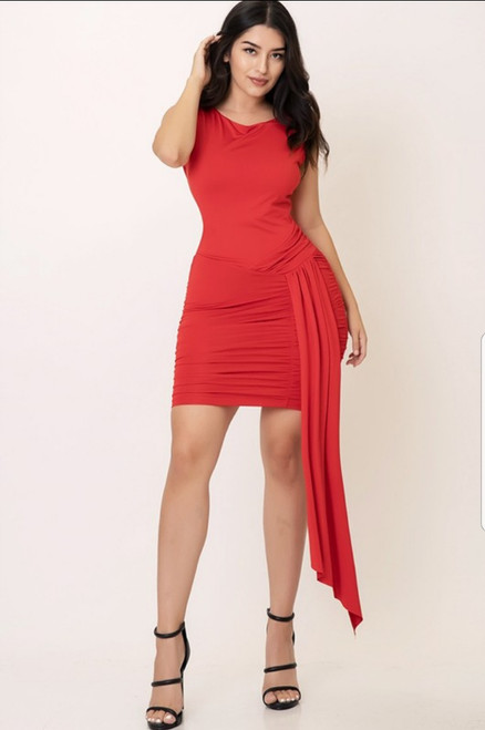 Red Cowl Neck Draped side Ruched Dress