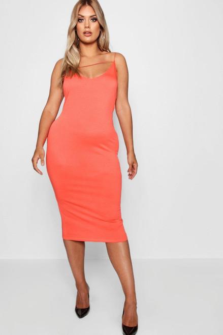 Plus Orange Plunge Cami Midi Dress