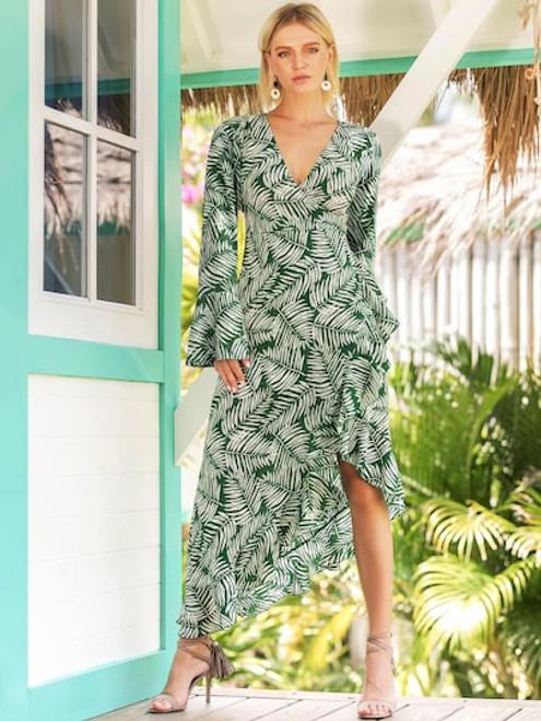 Leaf Print Ruffle Dress
