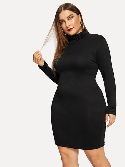 Plus High Neck Form Fitting Dress