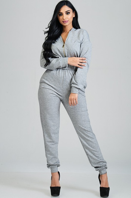 Plus Hooded Zip Front Tapered Leg Jumpsuit